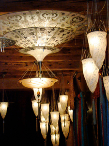 Luxuriously romantic silk hanging lamps, also Fortuny, also still available.